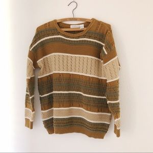 Vintage 90's chunky brown beige sweater striped S